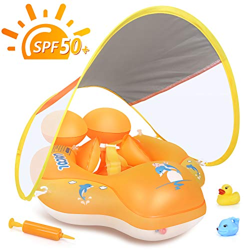 LAYCOL Baby Swimming Pool Float with Removable UPF 50+ UV Sun Protection Canopy,Toddler Inflatable Pool Float for Age of 3-36 Months,Swimming Trainer (Yellow, L)