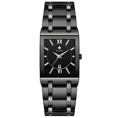 RORIOS Moda Hombre Relojes Analógico Cuarzo Reloj Cuadrado Dial Reloj Acero Inoxidable Band Calendario Multifunción Relojes