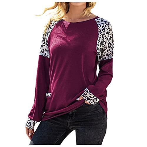 EVAEVA Camiseta de Otoño para Mujer, Estampada de Leopardo, Informal, Cuello Redondo, Manga Larga, Camisetas Largas, Modernas y Elegantes, Sueltas, Túnica Polos Casual de Mujer en Color de Contraste