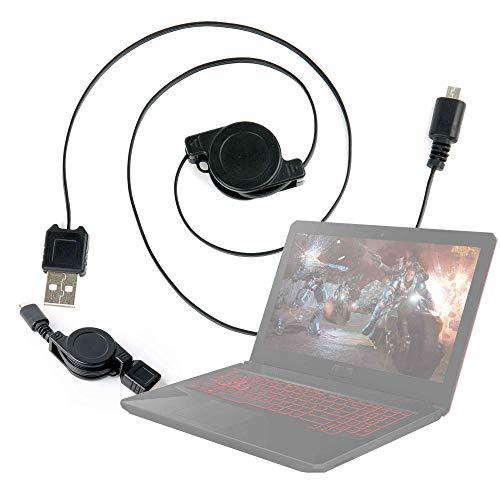DURAGADGET Cable MicroUSB Retráctil para Portátil ASUS TUF Gaming FX504GD-DM883, ASUS TUF Gaming FX504GD-EN421, ASUS TUF Gaming FX504GD-EN561, ASUS TUF Gaming FX705GD-EW082 Pasar Sus Datos Al PC!