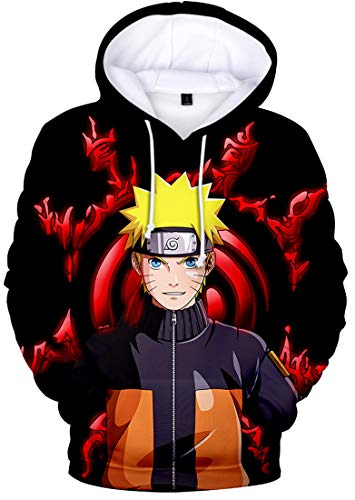Hombre Sudadera con Capucha Naruto 3D Impresión Hoodie con Dibujos Manga Larga(M,Rojo2)