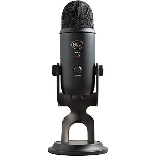 Blue Yeti Blackout USB Plus Pack Professional Multi-Pattern USB Microphone for Recording & Streaming + Software Bundle