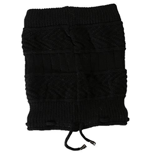 Timagebreze Winter Baotou Cap Plus Cashmere Knitted Pullover Cap Babero Tejido de Lana una Prueba de Viento Orejeras - Negro