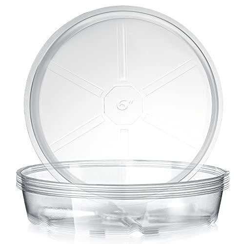Jetec Sottovaso per Piante in Plastica Trasparente Sottovaso per Fioriera Vassoi per Piante in Plastica più Spessi Durevoli per Interni all Aperto Giardino (10, 6 Pollici)
