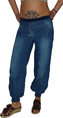 m.g.fashion Damen Pluder Jeans Hose, Sweatbund, M-235, Gr.36 S