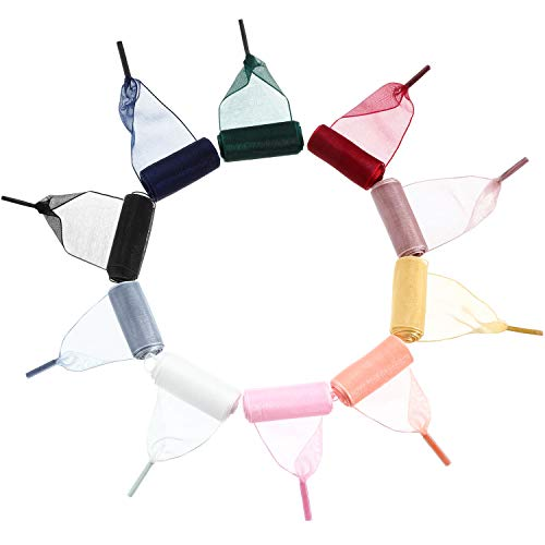 Syhood 10 Paar Satin Schnürsenkel Soft Casual Organza Flaches Band Schnürsenkel für Damen Mädchen Sneaker Schnürsenkel, Mehrfarbig