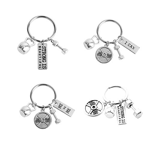 JiangYan-US Unisex Stainless Steel Fitness Keychains with Quotes Weight Plate Dumbbell Kettlebell Charms Keyring 4 Pcs Set