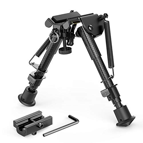XAegis Carbon Fiber 6″- 9″ Rifle Bipod with Picatinny Adapter, Carbon Bipod for Hunting&Shooting