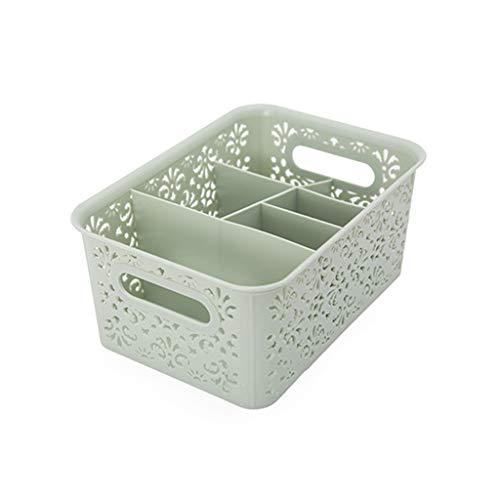 Caja de almacenamiento de escritorio para cosméticos, soporte para bolígrafos, organizador de 6 ranuras, estante de maquillaje multifunción cesta de plástico (GN)