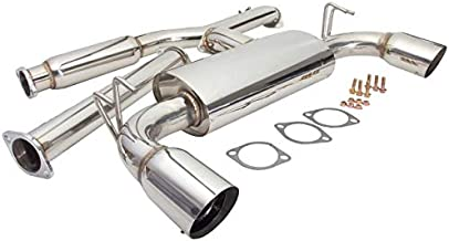 3 Inch Pipe Stainless Steel 4.5 Inch Tip with Silencer CB-304 Single Exit Cat-Back Exhaust Kit Rev9 Mitsubishi Evolution X 08-15