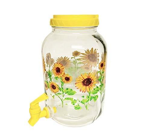 HD Design 3L Sunflower Glass Tea Jar With Yellow Plastic Lid And Spigot/Faucet