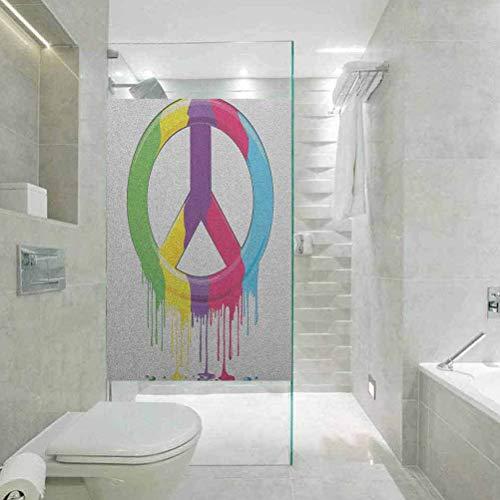 Pegatina para ventana de cristal, diseño de símbolo de paz digital Groovy, color líquido, adhesivo estático para decoración de ventana para el hogar y la oficina, 17.7 x 78.7 pulgadas