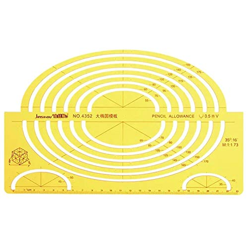 Plantilla de dibujo grande de la elipse oval grande forma semi elíptica tablero de dibujo Regla KT de plástico blando Para experimentos científicos