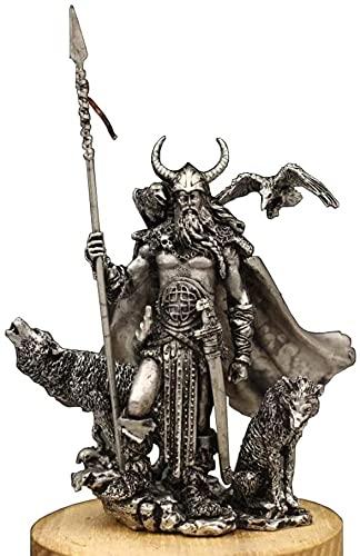 Muyuuu Odin Wodan Germánico Dios Escultura, Antiguo Guerrero Escultura Estatua Mítica Mágica Carácter Metal Artesanías