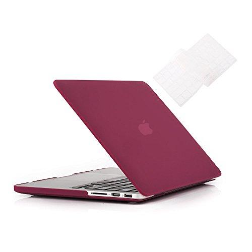 """RUBAN Custodia per MacBook Old Retina 15 """"(A1398), Custodia rigida in plastica per tastiera Cover per MacBook Pro 15 pollici 15.4"""" con Retina Display, Wine Red."""