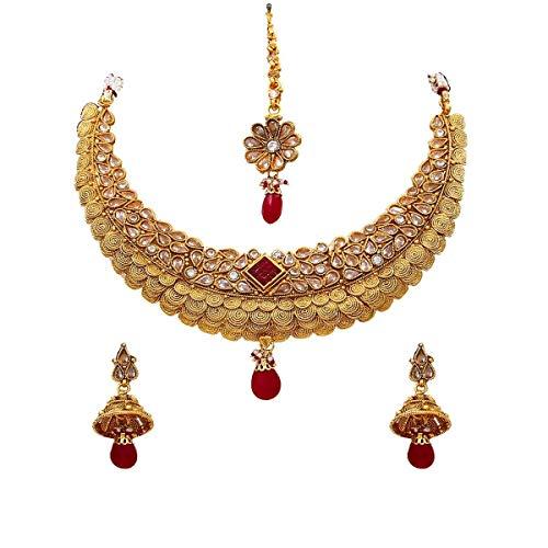 JewelryGift Conjunto de collar de boda sorprendente, chapado en oro, hecho a mano, joyería de diseño moderno para novias y niñas, Piedra preciosa., Rubí, esmeralda, perla,