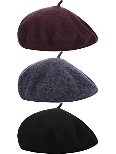 3 Pieces Beret Hat French Style Beanie Cap Solid Color Winter Hat for Women and Girls Casual Use (Black, Dark Grey, Coffee)
