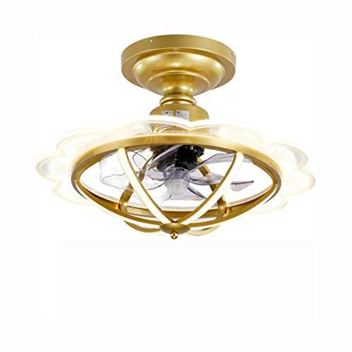 LIUTIAN Ventilador de Techo con la lámpara de 57 cm, retráctil 5D Espiral Ventilador Ventilador de Techo, Oro