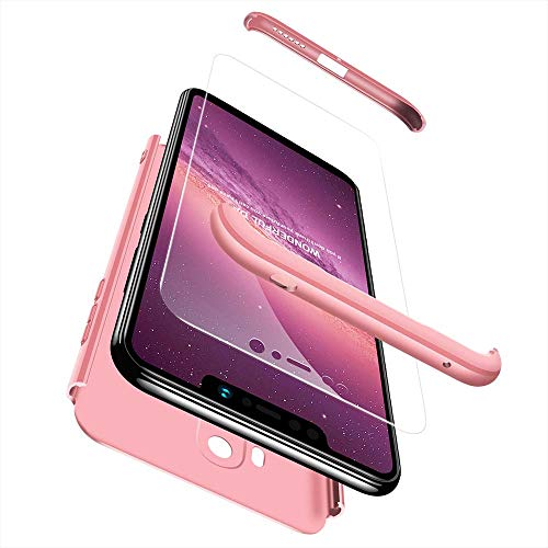 cmdkd Funda Compatible con Xiaomi Pocophone F1,Case Bumper 3 en 1 Estructura 360 Grados Integral para Ambas Caras Hard Skin Carcasa + Cristal Templado.Rose Oro