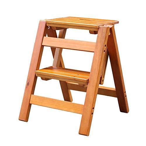 Yxsd Klapladder - Trapladder kleine houten ladder 2 traptreden - Klapstoel draagbare laddertrap
