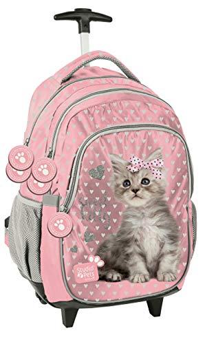 Zaino Trolley Sweet Kitty Gatto Rosa, Scuola Elementare Media Ragazza, Bambina