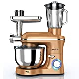 Nurxiovo 3 in 1 Home Mixer, 850W kitchen Stand Mixer with 6 Speed and Pulse, Food mixer stand up with 6.5 QT Stainless Steel Bowl,Beater,Dough Hook, Whisk, Meat Grinder and Juice Extracter,Champagne Gold