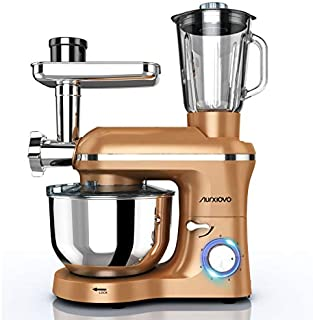 Nurxiovo 3 in 1 Home Mixer, 850W kitchen Stand Mixer with 6 Speed and Pulse, Food mixer with 6.5 QT Stainless Steel Bowl, Beater, Dough Hook, Whisk, Meat Grinder and Juice Extracter, Champagne Gold