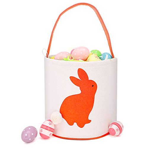 Easter Bunny Bag & Basket for Egg Hunts. Children's Tote Handbag Container with Dual Layer Bunny Ears Design, Excellent for Carrying Eggs, Candy, Gifts at Easter Party. (Cylinder Orange)