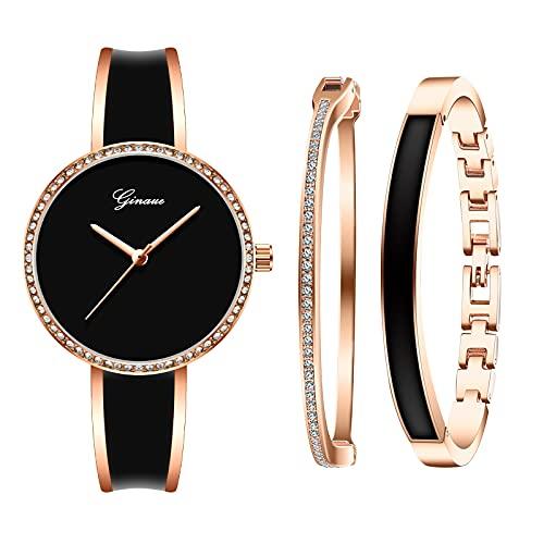 Souarts, orologio da polso da donna con bracciale in stile classico, per donna, ragazza, San Valentino, regalo di compleanno, regalo di festa (rosa nero)