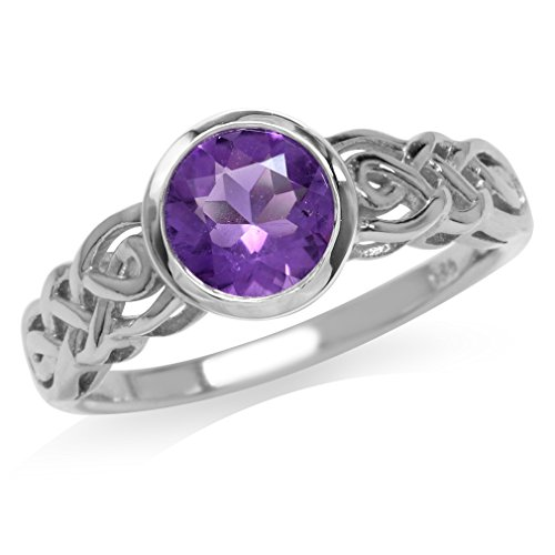 Silvershake 1.19ct. 7mm Natural Round Shape African Amethyst 925 Sterling Silver Celtic Knot Solitaire Ring Size 8
