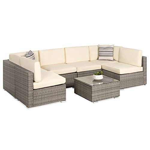 Best Choice Products 7-Piece Modular Outdoor Sectional Wicker Patio Furniture Conversation Set w/ 6...