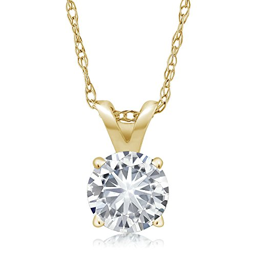 14K Yellow Gold Solitaire Pendant with 18 inch14K Yellow Gold Chain Set Round 4 Prong Forever Classic White 0.27 ct (DEW) 4.5mm Created Moissanite from Charles & Colvard