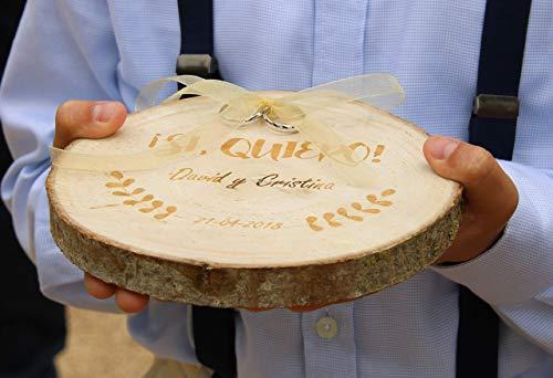 Porta anillos de boda grabado en madera personalizado para alianzas