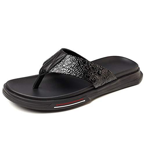 KIKIGO Sandalias de yoga para playa, verano para hombre, sandalias de piel, antideslizantes, zapatos de playa, zapatos casuales de playa, T166 (piel de flor negra)_40