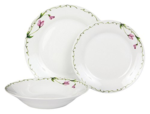 Dajar 18 piezas. Vajilla PRESILLA DOMOTTI, porcelana, blanco/rosa/verde, 43,5 x 10,5 x 23,8 cm, unidades