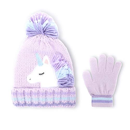 accsa Kinder Mädchen Mütze Handschuhe Set für Winter, Unicorn Strickmütze und Handschuhe für Mädchen 6-9 Jahre, Violett
