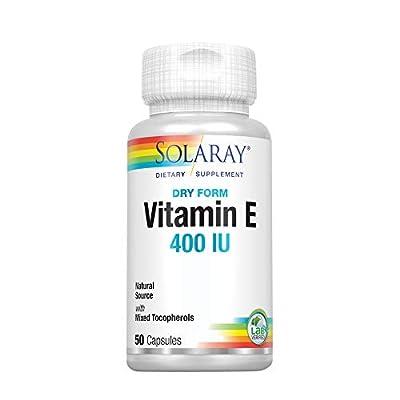 Solaray Vitamin E, Dry 400 IU w/Mixed Tocopherols   Non-Oily   Healthy Cardiac Function, Antioxidant Activity & Skin Health Support   50 Capsules