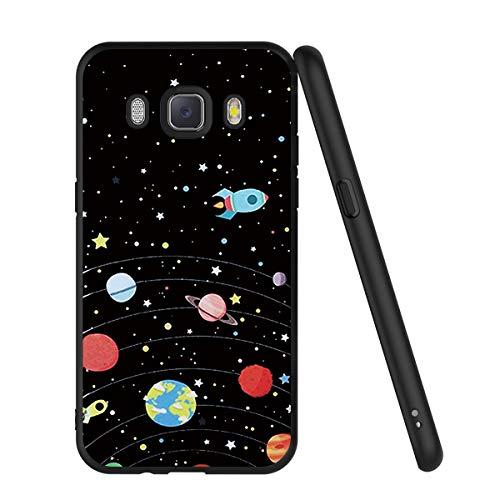 ZhuoFan Funda Samsung Galaxy J5 2016 Cárcasa Silicona Ultrafina Negra con Dibujos Diseño Suave TPU Gel Antigolpes de Protector Piel Case Cover Bumper Fundas para Movil Samsung J510, Cielo de estrellas