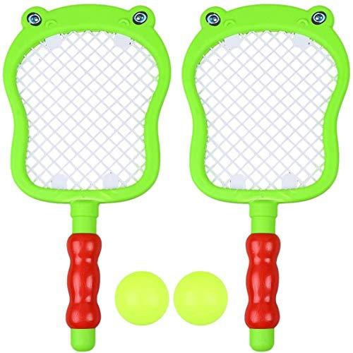 RENFEIYUAN 1 Set Kinder Tennisschläger Set Kunststoff Badminton Tennisschläger Bälle Set Schläger Spiel Spielzeug Set Rasen oder Hinterhof (2 stücke Schläger + 2 stücke Bälle) Badminton Sets