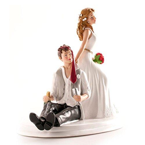 Dekora - Betrunkenes Brautpaar Figur für Hochzeitstorte 14 cm