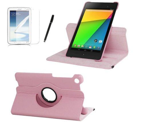 gada - Asus Google Nexus 7 (2013) 2 II PREMIUM 360° drehbare Leder-Imitat tasche mit praktischer Standfunktion in rosa / pink inkl. kostenloser Bildschirmfolie & Touch Pen