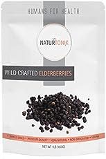 Dried Elderberries 100% Natural European Whole Wild Crafted Elder Berry Sambucus Nigra 1 Pound Resealable Pouch