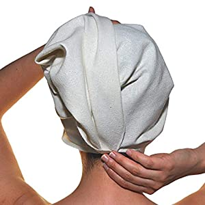 immagine di H28 AND CO. Asciugamani per capelli in seta naturale ad asciugatura rapida e panno per il viso. Set di due pezzi: asciugamano per capelli, extra assorbente (45x73cm) e asciugamano struccante (27x27cm)