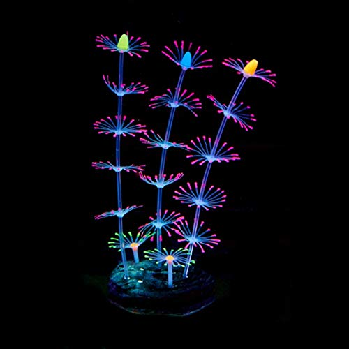 ACEACE Fischtank Aquarium Dekoration Leuchtende Feder Koralle Aquarium Aquarium Leuchtende Silikon Dekoration Zubehör Haushaltsgegenstände (Color : Pink)