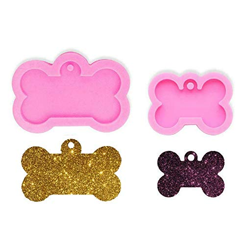 thanksky 2PCS DIY Dog Tag Mold, Creative Silicone Resin Keychain Mold, Cake Decorating Epoxy Resin Kit Molds Jewelry Making Tool
