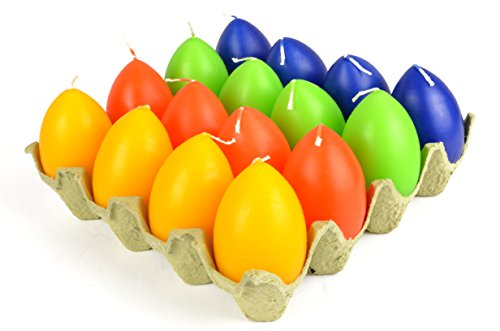 * Ei-Kerzen in vier Farben | 4er, 8er, 12er, 16er-Pack | bunte Osterei-Kerzen Osterkerze Osterlicht | ca. 6 x 4,4 cm (16)