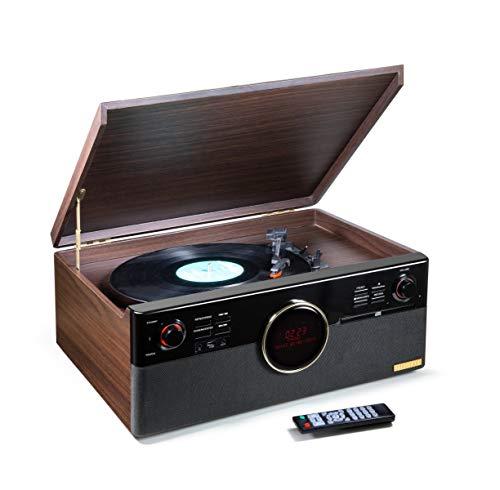Technaxx TX-137 - DAB Bluetooth V5.0, Plattenspieler, Digitalisieren von Schallplatten, Kassetten, CDs, Radio-Funktion, AUX, RCA, Stereolautsprecher