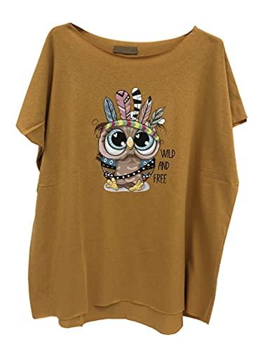 stickerbeauty Camiseta de manga corta con cuello redondo, diseño de Super mama, para niño, Life Mom 36, 38, 40, 42, color rosa SB210421A0 amarillo mostaza_búho 40 ES/44 ES