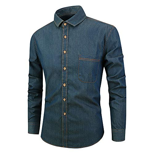 SALEBLOUSE Herren Jeanshemden Langarm Casual Fashion Sale Denim Cowboy T-Shirt Tops Blusen Button Down Revers Oberhemd Formelle Hemden mit Taschen