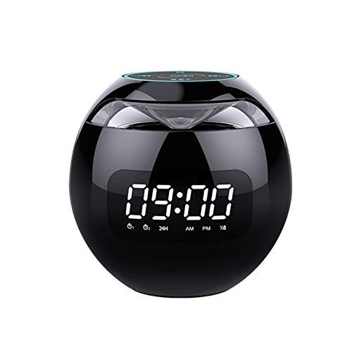 X-LSWAB Altavoz Bluetooth, Reloj de Alarma de Altavoz portátil con Radio FM, Pantalla LED, Sonido HD, Caja de Audio de Altavoz inalámbrica de bajo y bajo, reducción de Ruido, lámparas de Colores